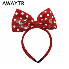 AWAYTR Lovely Girls Bows Mickey Mouse Ears Women Hair Accessories Party Bowknot Hairband Kids Black Red Birthday Headwear