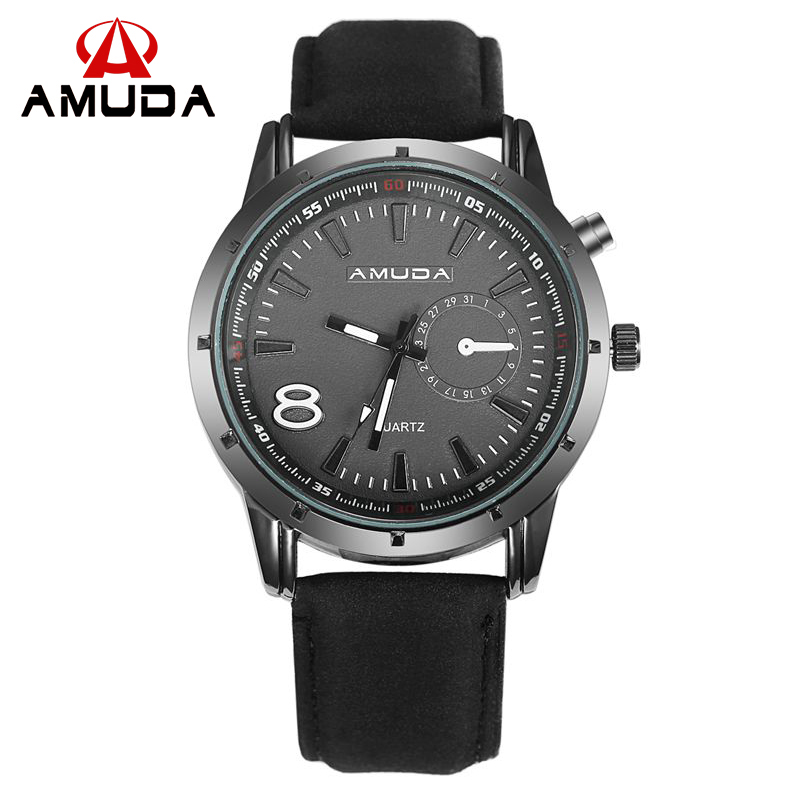 Amuda 2016 Sport Watches Military Army Men Watch Luxury Brand Men Watch Leather Brown Black Big Dial Male Clock<br><br>Aliexpress