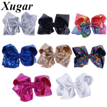 8 Inch Large Sequin Hair Bows Hairclips For Girls Handmade Rainbow Dance Party Kids Boutique Hair Accessories Hairpins(China)