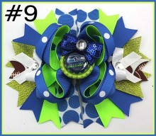 "free shipping 12pcs 6""team hair bows with sequin football hair clips Layered Bottle Cap Hair Bow girl sport bows hair bows"