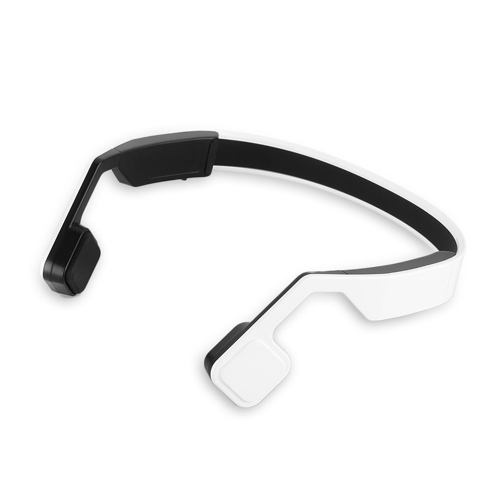 Top Deals Wireless Bluetooth 4.0 Bone Conduction Headphone Headset Built-in Mic Hands-free Color:white/red<br>
