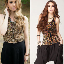2016 fashion new style Women Summer Vest Sleeveless Top Casual Leopard Print T-Shirt Tee TOP