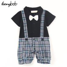 Baby Boy Gentleman Romper Infants Plaid Jumpsuits Summer Cotton Toddle Kids Formal Party Wear Clothing For Boys