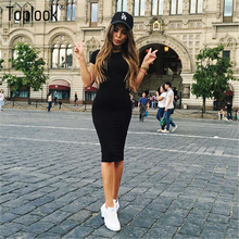 Toplook Bodycon Women Dress Short Sleeve Robe Sexy Summer Office Dresses Knee-Length Bandage Midi Black Army Green Pencil Dress