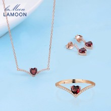 LAMOON V Shape 100% 925 Sterling Silver 3PCS Jewelry Sets Love Heart Natural Garnet Gemstones S925 Fine Jewelry For Women V004-2(China)