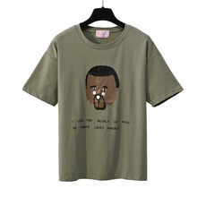 9fd26a37f67 MERRY PRETTY New Summer Army Green Women t-shirts Character Letter Printed  Short Sleeve O-neck Cotton Tops Casual Loose tshirt