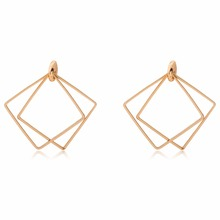 Buy 10 pairs/lot Women Square Earrings Gold Silver Hollow Matte Stud Earring Fashion Jewelry Simple Ear Accessories Pendientes for $4.65 in AliExpress store