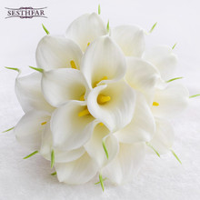 2018 hot 2 Color Beautiful 18pcs Artificial Flowers Ivory/Yellow Calla Lily Long Flower Bouquet Wedding Bouquet bridal bouquets(China)