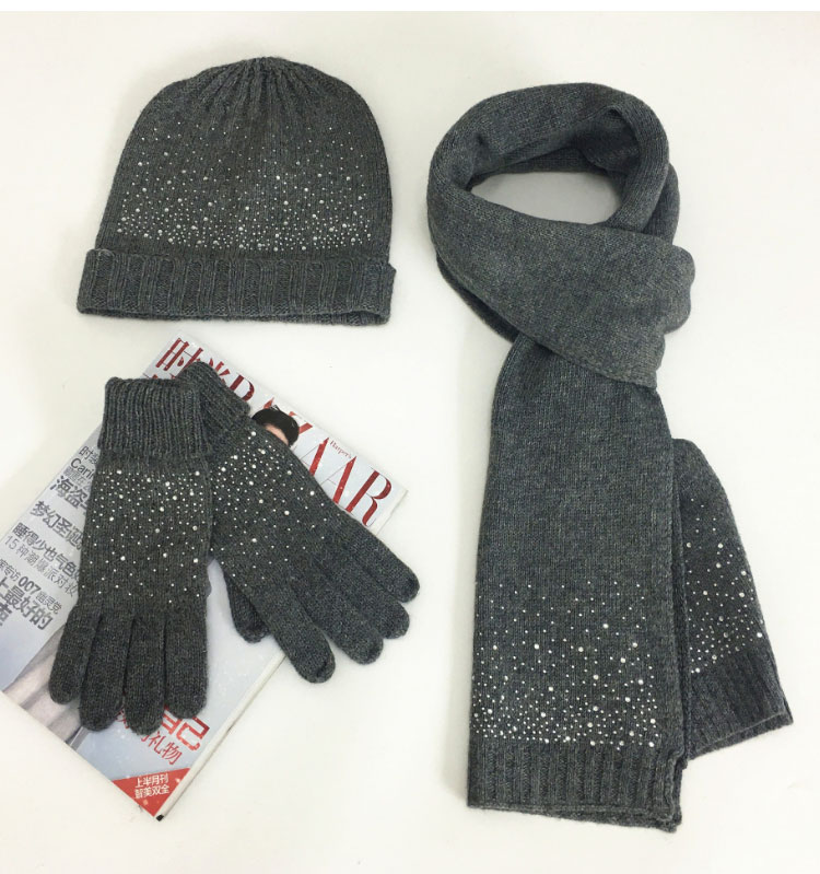 hat scarf set  Scarf, Hat & Glove Sets knitted  winter hat and scarf woman with diamond  (12)