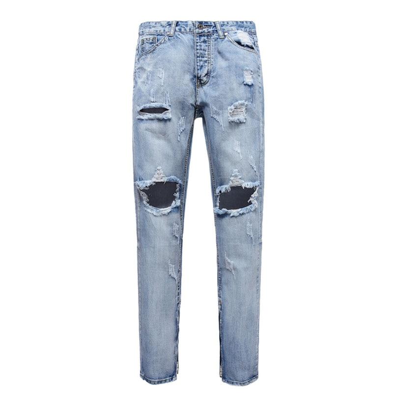 Mens Jeans Light Blue Brand Vintage designer Casual Hole Ripped Jeans Mens Fashion Denim Pants Slim embroidered jeansÎäåæäà è àêñåññóàðû<br><br>