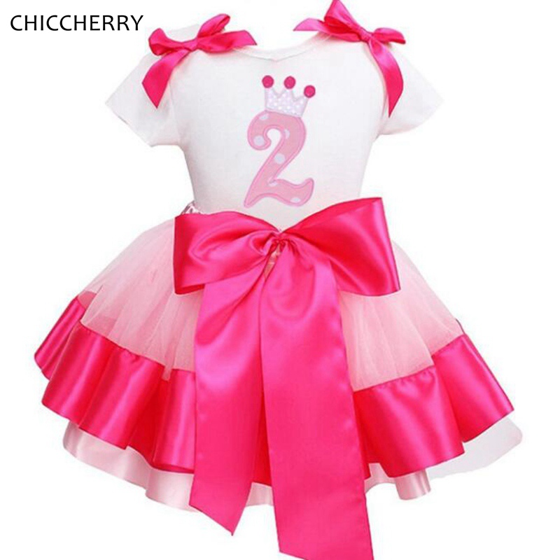Pink 2 Years Birthday Girls Tutus Bow Tie Children Clothing Lace Tutu Skirt Top Set Vestidos Menina Party Kids Girl Clothes<br><br>Aliexpress