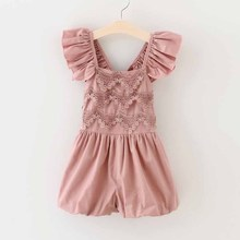 Toddler Girls Jumpsuit Shorts Baby Summer Playsuit Soft retro Lace Clothing One-piece 2-7Y girls summer sets children's clothing