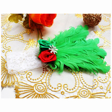 NEW Unusal Girls Green Feather Hairband with Red Rose Headband