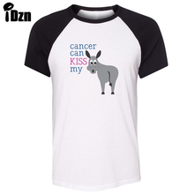 iDzn Unisex Summer T-shirt Funny Donkey cancer can kiss my Art Pattern Design Raglan Short Sleeve Men T shirt Casual Tee Tops(China)