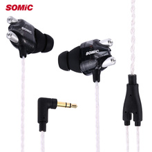 Somic V4 Wired In-ear Double Moving-coil HiFi Stereo Earphones With Noise Cancelling Function For Mobile Phone PC Computer