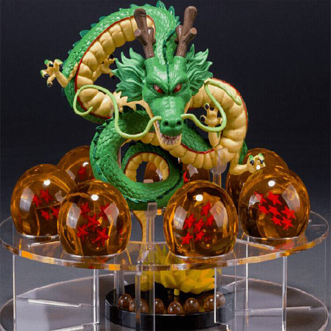 dragon ball z toy action figures 2015 New Dragonball figuras 1 figure dragon shenlong +7 crystal balls 4.3cm +1 shelf brinquedos<br>