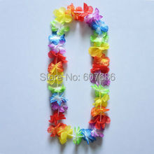 Wholesale 60 Pieces Colorful Hawaii Flower Lei Luau Leis Flower Necklace Hawaiian Party Products Dress Decor EMS Free Shipping(China)