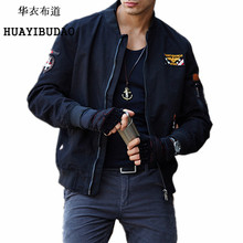 HUAYIBUDAO Autumn And Winter jacket men Military uniform Embroidery badges men's jackets Pilot Bomber Tactical jacket M-4XL(China)