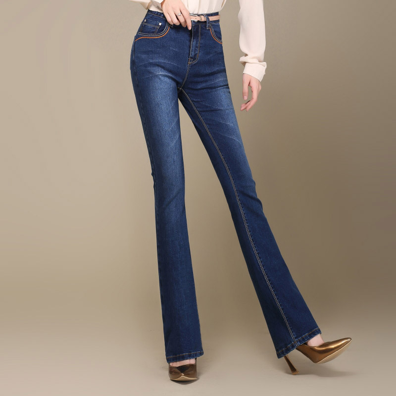 Autumn New High Quality Plus Size Womens Flares Boot Cut Jeans High Waist Fashion Elastic Denim Pants Bell-bottom TrousersÎäåæäà è àêñåññóàðû<br><br>