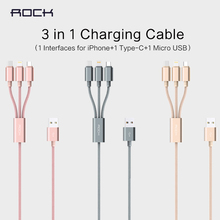 Original ROCK Combo 3-in-1 Connector Cable For Lightning Cable & usb Type C & micro usb cable