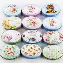 Floral Picture Mac Cosmetic Make Up Organizer Candy Box Accessories 12 Piece Tin Box Oval Metal Tea Pill Jewelry Case