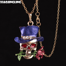 XIAOJINGLING 4 Colors Rose Hat Skulls Jewellery Necklaces Punk Personality Pendants Necklaces Crystal Gold Halloween Accessories
