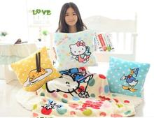 Cartoon Hello Kitty Baymax Donald Warm Coral Fleece Soft Blanket With Hand Pillow