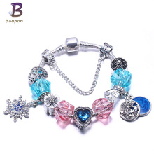 Fashion Blue Snowflake Crystal Pendant Hearth beads Pandora Bangles & bracelets Fit European Gift For Monther DIY jewelry(China)