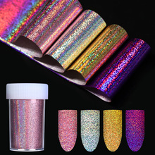 Holographic Starry Nail Foil 4*120cm Gold Silver Purple Rose Gold Holo Nail Art Transfer Foil Laser Sticker Decoration(China)