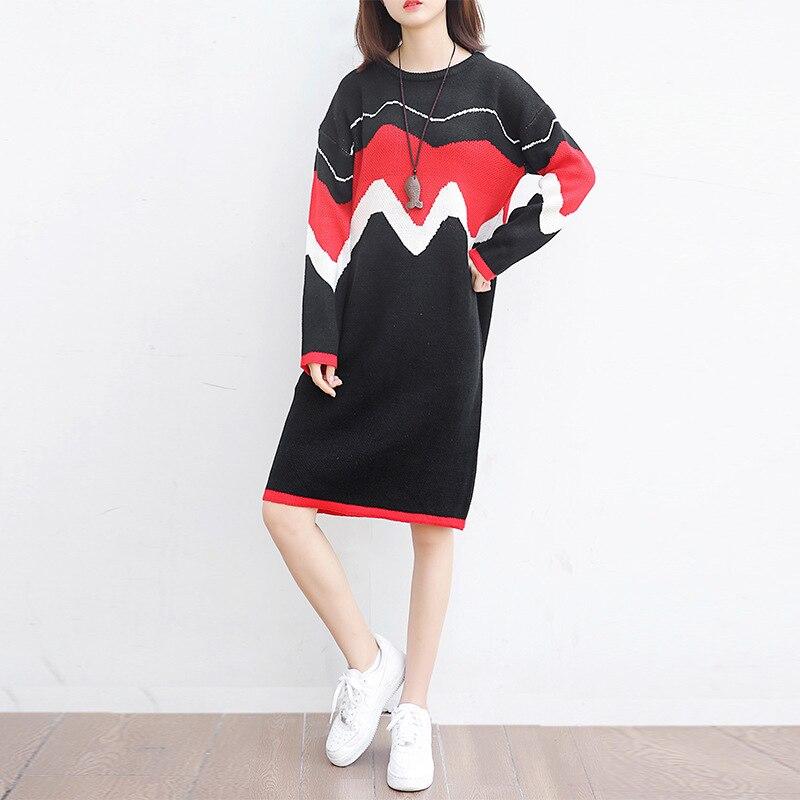 LXUNYI 2018 Autumn Winter Plus Size Sweater Dress Women Casual Cotton Dresses Loose O-Neck Patchwork Knitted Black DressÎäåæäà è àêñåññóàðû<br><br>