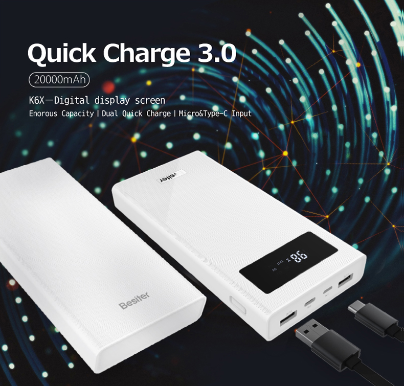 Besiter Power Bank 000 mAh For Xiaomi Mi 2 Quick Charge 3.0 PowerBank Portable Charger External Battery For iPhone Pover Bank 6