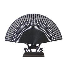Hot Sale Black Ladies Cheaper Bamboo Folding Hand Fans,Wholesale Personalized Bamboo Fan of Old Wedding Decoration Black 20