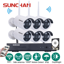 SUNCHAN 8CH Auto-Pair Wireless System 6*2.0 Megapixel 1080P HD Wireless Outdoor IP Network Home Surveillance Camera System w/HDD(China)