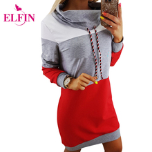 Buy Casual Turtleneck Warm Hoodies Sweatshirt Dress Women Autumn Mini Slim Patchwork Female Hoodie Dress Pullover Vestidos WS3541R for $12.66 in AliExpress store
