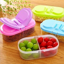 900ml Plastic Food 2 Lattices Sealed Crisper Grains Tank Kitchen Sorting Food Storage Box Container