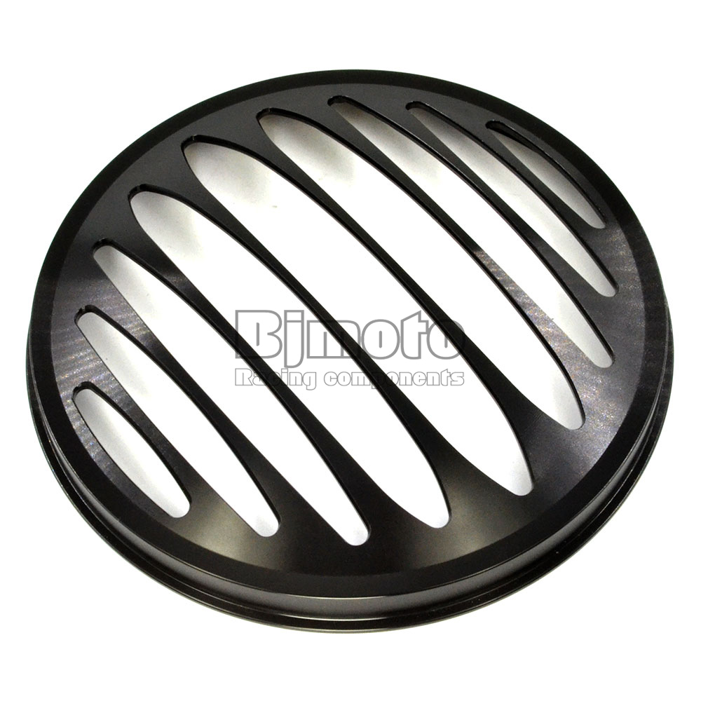 BJMOTO 7 Motorcycle Black CNC Aluminum Metal Round Headlight Grill Cover For Harley Sportster XL 883 1200<br>