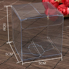 Pvc Box 50Pcs/Lot 5*5*5cm Clear Small Poly Pack Box Jewelry Transparent Plastic Pack Box For Gift Craft Makeup Cream Retail