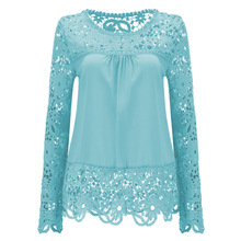 2017 shirts Women Blouses Lace Renda Floral Casual O-neck Plus Size Tops Blusas Femininas women's blouse large size dressy Blusa(China)