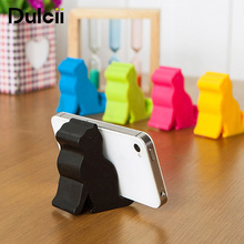 Dulcii 1 pcs New Cute Mini Cat Shape Phone silicone Tablet Mounts Stand Holder Tool for iPhone Samsung Huawei Xiaomi Lenovo(China)