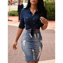 New Arrivals stylish Women Stretch Bodycon Pencil Skirt Knee-Length Skirt High Waisted Solid Vintage Ripped Denim Skirts Custume