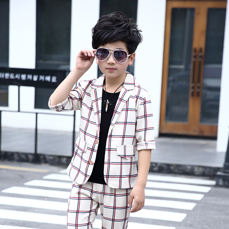 Occidental Style Fashion Boys Suits for Holiday 3 Pieces Set Cotton Short Sleeve Coat Calf-length Pants Black Vest Summer Suits<br>
