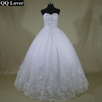 QQ Lover 2017 New Latest Sexy Beaded Wedding Dress Custom Made Plus Size Beautiful Vestido De Noiva With Real Pictures