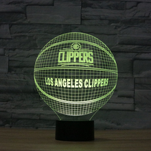 NBA Team LOS ANGELES CLIPPERS Visual Night Light 7 colors changing World Champions 3D Basketball  Illusion Bedside Lamp Gift