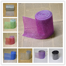 Buy 4 Get 1 FREE Mesh Trim Bling Diamond Wrap Cake Roll tulle 1Y Crystal Ribbons Party Wedding Decoration event party supplies(China)
