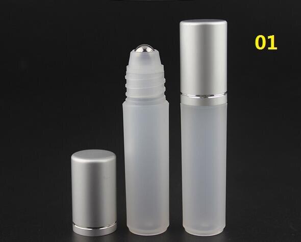 30/100pcs 5ML plastic roll on Bottle/steel bead ball Sample Perfume Vial,Small Essential Oil bottle Lip oil subpackage metal cap<br>