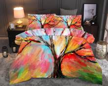 Tree Printed Bedding Sets Scenery Duvet Cover Set 2/3pcs Bed Set Queen King Quilt Cover Bed linen (No Sheet No Filling)(China)