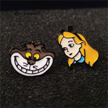P1378 Dongmanli movie Cartoon Alice in wonderland Cheshire cat stud earrings For women kids Gift Fashion jewelry Accessories(China)