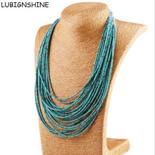 LUBINGSHINE Bohemian Necklace Boho Jewelry Multilayer Statement Beads Necklaces For Women Indian Punk Handmade Strand collares(China)