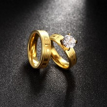 Simple Engagement Wedding couple Rings classic fashion personality creative jewelry lovers sets men and women Memorial Ring(China)