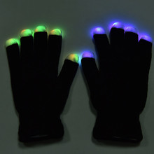 1Pair Flashing Gloves Glow 7 Mode LED Rave Light Finger Lighting Mitt Toy finger led gloves Christmas Party Supplies